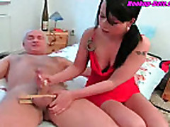 Amateur hot handjob german