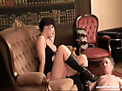 sadistic babe playing an old guy with her boots