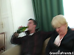 Drunk granny is double fucked
