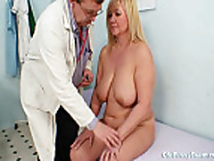 Big tits blond Milf hairy pussy exam