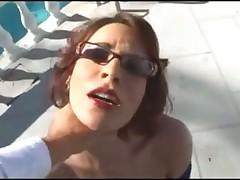 Deepthroat whore in glasses sucks big cock