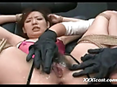 Asian Gets Hot Sauce In Her Hairy Pussy